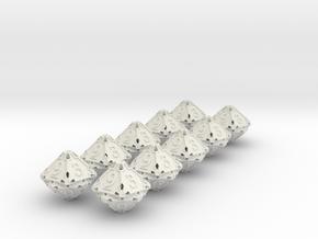 Premier 10d10 Dice Set in White Natural Versatile Plastic