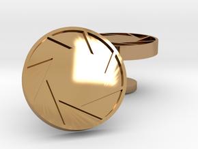 Aperture cufflinks in Polished Brass