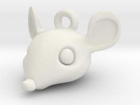 Mouse-head keychain in White Natural Versatile Plastic