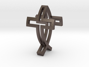 IchthysCross Pendant in Polished Bronzed Silver Steel