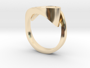 Ultra modern curve ring in 14K Yellow Gold