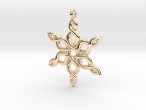 Snowflake Pendant 30mm in 14K Yellow Gold: Medium