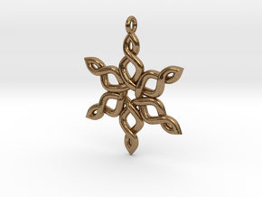 Snowflake Pendant 30mm in Natural Brass: Medium