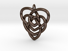 Mother's Knot Pendant in Polished Bronze Steel: Large