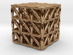 """3-D FLOWER OF LIFE """"META-CUBE"""" in Polished Brass"""
