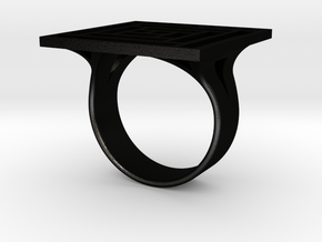 Log Cabin Ring - US Size 07 in Matte Black Steel