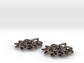 Woven Earrings in Polished Bronzed Silver Steel