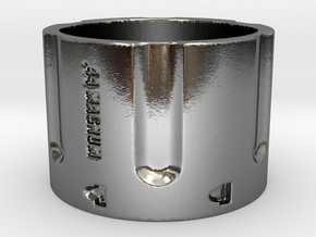 44 Magnum Cylinder, 16mm Tall,  Ring Size 10 in Polished Silver
