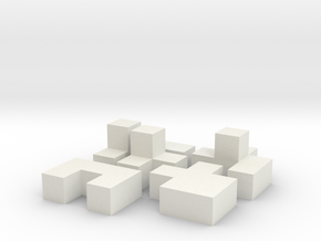 9mm Puzzle Cube in White Strong & Flexible