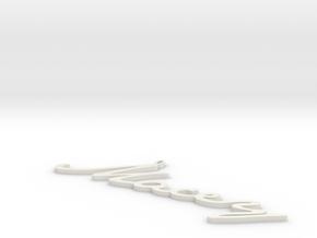 Custom Name Pendant in White Natural Versatile Plastic