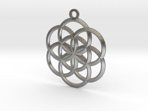 Seed of Life Pendant in Natural Silver