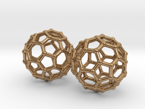 Mini Buckyball Chemistry Molecule Earrings in Polished Brass
