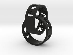 Connected Rings Forever Together in Black Natural Versatile Plastic