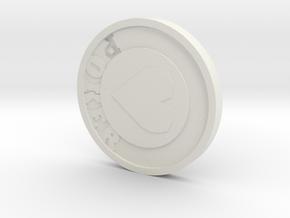 Poker chip in White Natural Versatile Plastic