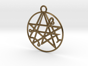 Cthulhu Sigil of the Gateway Pendant in Natural Bronze