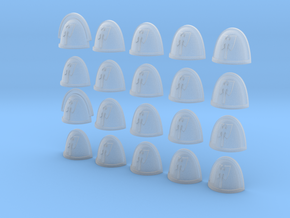Double Axe Blade - 20, 28mm Shoulder Pads in Smooth Fine Detail Plastic