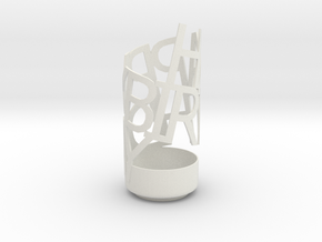 Happy Birthday pencil holder in White Natural Versatile Plastic