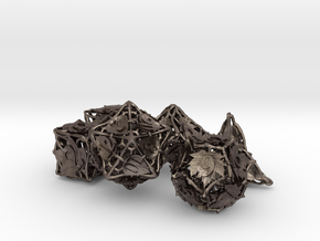Botanical Dice Ornament Set in Polished Bronzed Silver Steel