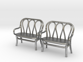 Pair of 1:48 Bentwood Settees in Natural Silver