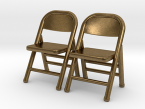 1:48 Miniature Pair of Folding Chairs in Natural Bronze