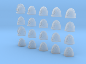 Side Skull - 20, 28mm Shoulder Pads in Smooth Fine Detail Plastic