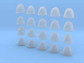 Side Skull - 20, 28mm Shoulder Pads in Smooth Fine Detail Plastic