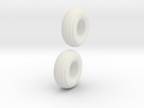 1:64 12.5L-15 Implement Tires in White Strong & Flexible