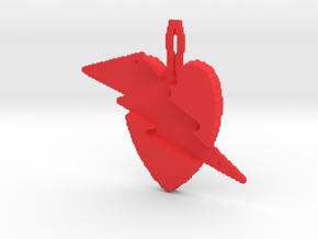 budget heart lightening pendant in Red Processed Versatile Plastic