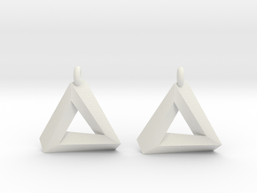 Penrose Triangle - Earrings (17mm) in White Natural Versatile Plastic