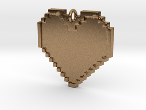 Pixel Heart Necklace Pendant or Ornament FIXED in Natural Brass