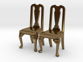 Pair of 1:48 Queen Anne Chairs in Polished Bronze