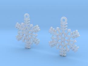 Snowflake Earrings in Smooth Fine Detail Plastic