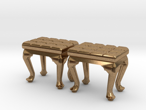 1:48 Tufted Vanity Stool in Natural Brass