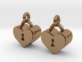 Heartlock Earrings in Natural Brass