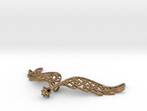Angel Wings Pendant - precious metals in Natural Brass
