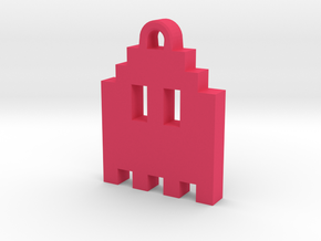Pac Man Ghost 8-bit Earring 1 (looks up | moving) in Pink Strong & Flexible Polished