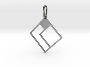 Tetromino Pendant - Diamond Two in Polished Silver