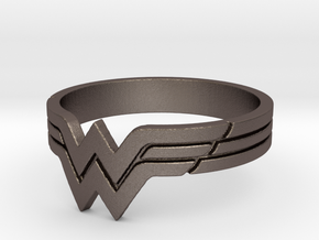 Wonder Woman Ring, Size 7 in Polished Bronzed Silver Steel