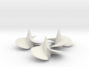 Three ship propellers f. Bismarck/Tirpitz 1/200 V2 in White Natural Versatile Plastic