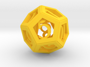 12 Face Dice in Yellow Processed Versatile Plastic