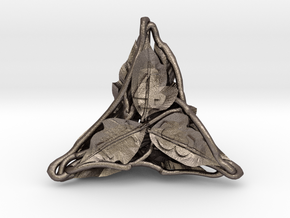 Botanical d4 Ornament in Polished Bronzed Silver Steel