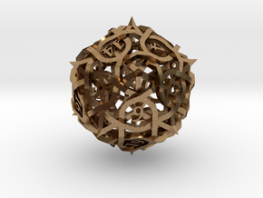 Thorn d20 Ornament in Natural Brass