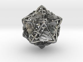 Botanical d20 Ornament in Natural Silver