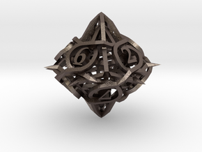 Thorn d10 Ornament in Polished Bronzed Silver Steel