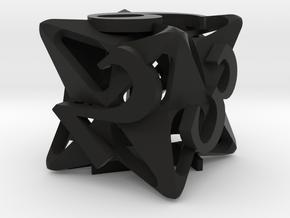 Pinwheel d6 Ornament in Black Natural Versatile Plastic