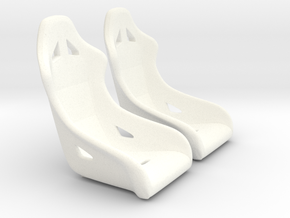1/16 Scale Modern Racing Seat Pair in White Processed Versatile Plastic