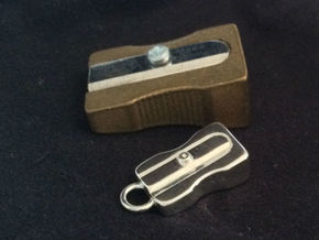 Pendant - Pencil Sharpener in Polished Silver