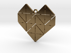 Geometric Heart Pendant in Polished Bronze