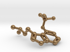 Psilocybin Molecule Keychain Necklace in Natural Brass