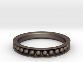 Sphere-Edged Ring (Sz 8) in Polished Bronzed Silver Steel